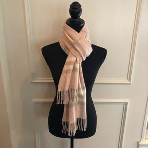 Pink & Taupe Cashmere Authentic Burberry Scarf